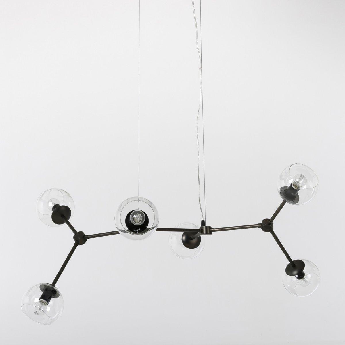 Светильник черный, AtomiumЭтот потрясающий стильный светильник выполнен в молекулярной тематике и состоит из 6 шаров с шарнирным соединением вокруг стержня с креплением на плафон с помощью 2 стальных тросиков.Характеристики :-- Из металла черного цвета и прозрачного стекла   - Патрон E14 для лампочки макс 40W (не входит в комплект) . Этот светильник совместим с лампочками    энергетического класса   A-B-C-D-E  .  Размеры : - 114 x 40 x 66 см (в нормальном положении при использовании)   . ХарактеристикиРазмеры и вес упаковки : - 100 x 17 x 70 см, 5 кг Доставка до квартиры : Доставка на дом осуществляется по предварительной договоренности!Внимание! Убедитесь в том, что товар возможно доставить на дом, учитывая его габариты (проходит в двери, по лестницам, в лифты).<br><br>Цвет: бронзовый состаренный