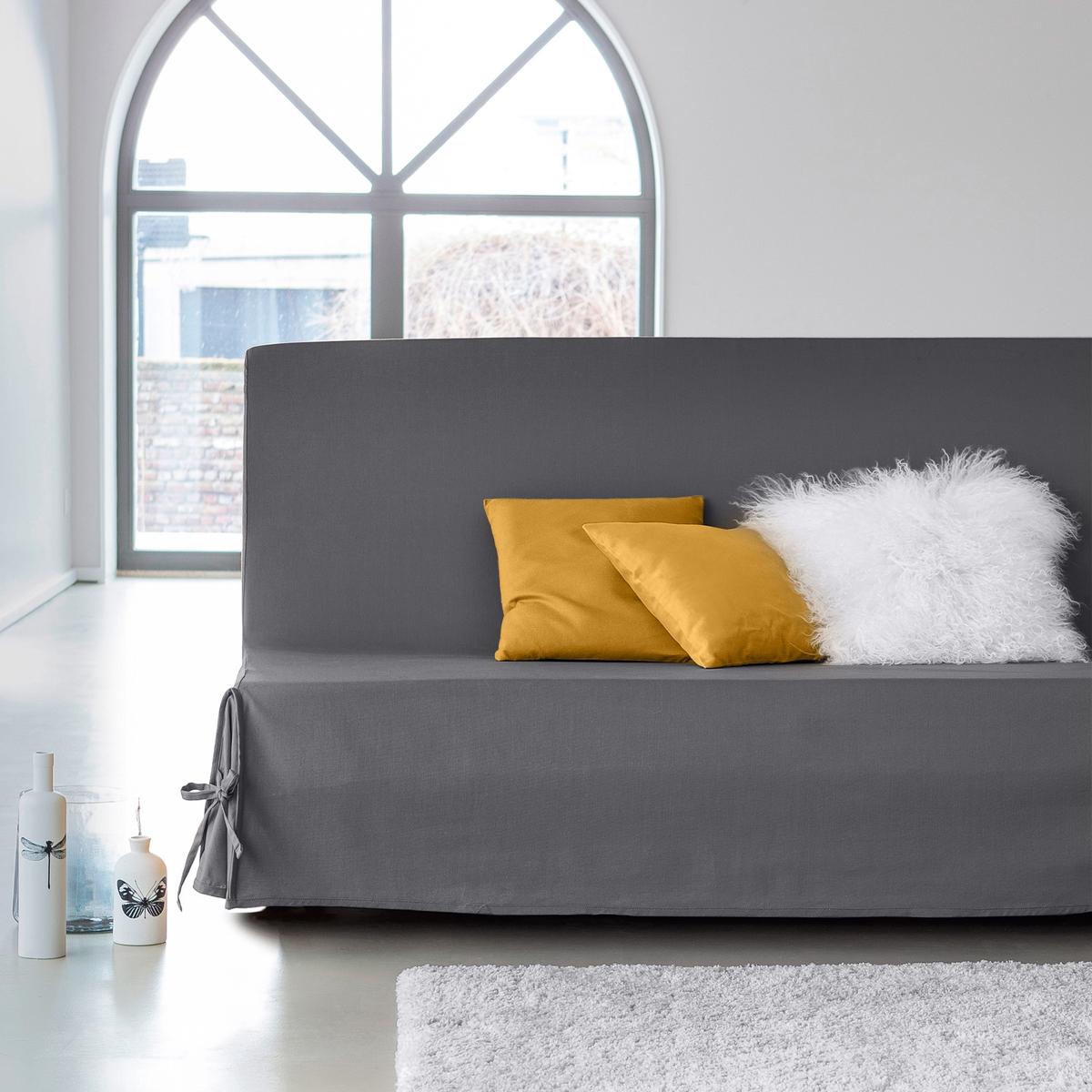 Чехол для дивана-книжкиЧехол для дивана-книжки из 100% хлопка, широкая гамма ультрасовременных цветов. Подарите новую жизнь дивану !Характеристики чехла для дивана-книжки:Чехол для дивана-книжки из красивого плотного материала, 100% хлопок (220 г/м?), есть 13 цветов.Полностью закрывает диван включая спинку:: удобные клапаны фиксируются завязками.Простой уход : стирка при 40°, превосходная стойкость цвета.Обработка против пятен.       Размеры чехла для дивана-книжки : Ширина : 190 см, Глубина: 65 см. Для спального места от 120 до 136 см в разложенном состоянии.Качество Valeur S?re.              Сертфикат Oeko-Tex® дает гарантию того, что товары изготовлены без применения химических средств и не представляют опасности для здоровья человека.<br><br>Цвет: белый,вишневый,медовый,серо-коричневый,серый жемчужный,синий индиго,сливовый,черный,экрю<br>Размер: единый размер.единый размер.единый размер.единый размер