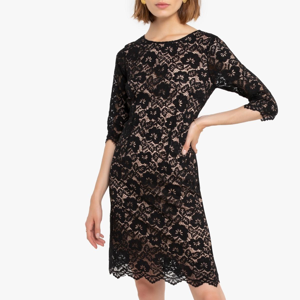 Платье La Redoute Из кружева с рукавами M черный футболка из кружева с рисунком и рукавами 3 4
