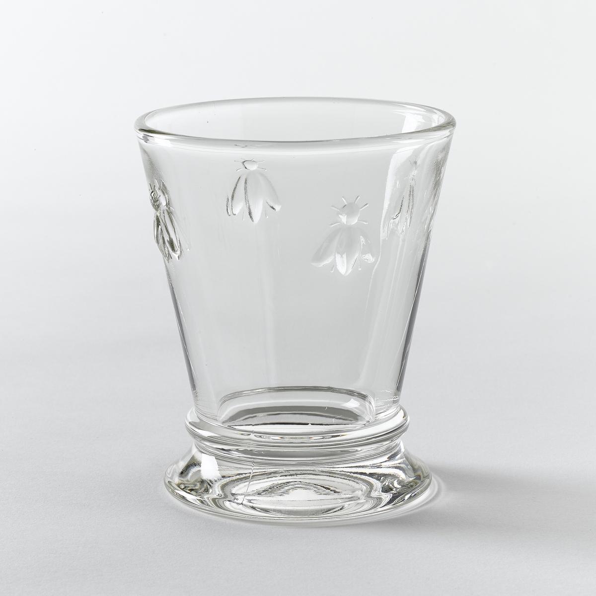 Комплект из 6 стаканов для водыХарактеристики:- очень прочное прессованное стекло- декорированы рисунком 4-х пчёл.- Объём: 270 мл.- Диаметр 9 x Выс. 10,30 см.- Можно использовать в посудомоечных машинах.- Произведено во Франции.Вы можете подобрать подходящие винные бокалы на сайте laredoute.ru.<br><br>Цвет: стеклянный прозрачный