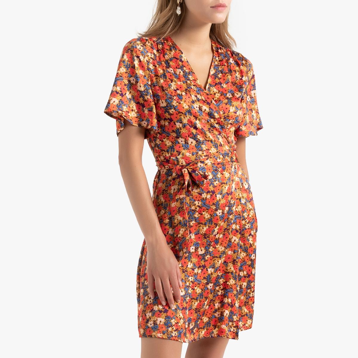 Платье La Redoute Короткое с короткими рукавами 34 (FR) - 40 (RUS) разноцветный бушлат la redoute с рисунком клетка 34 fr 40 rus синий