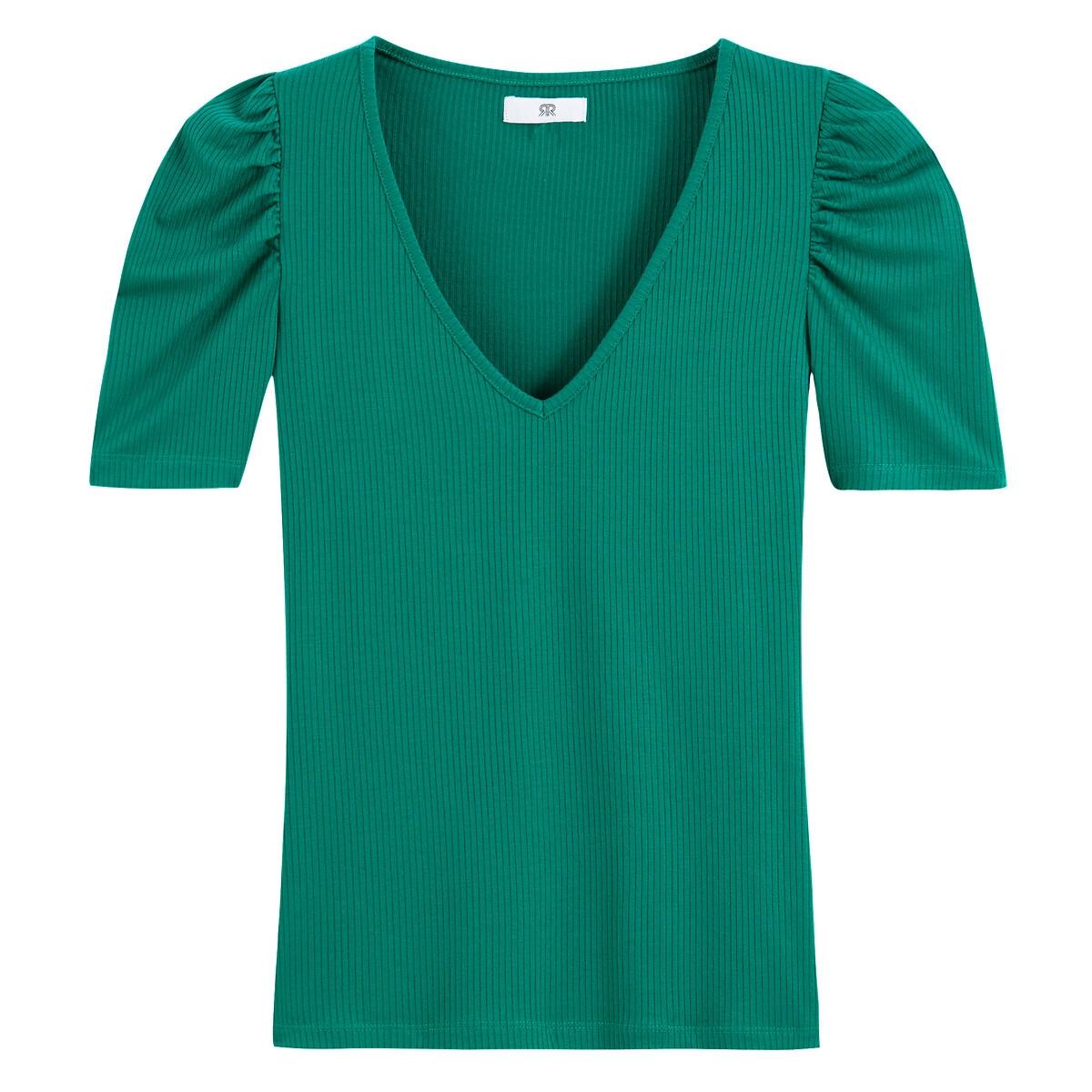 Camiseta con cuello de pico, manga corta abullonada