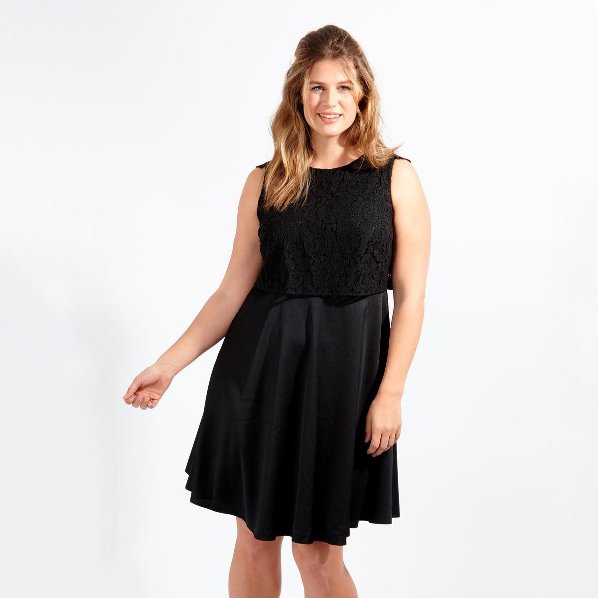 ПлатьеПлатье - KOKO BY KOKO. Красивый V-образный вырез вверху спинки . 100% полиэстер<br><br>Цвет: черный<br>Размер: 44 (FR) - 50 (RUS)