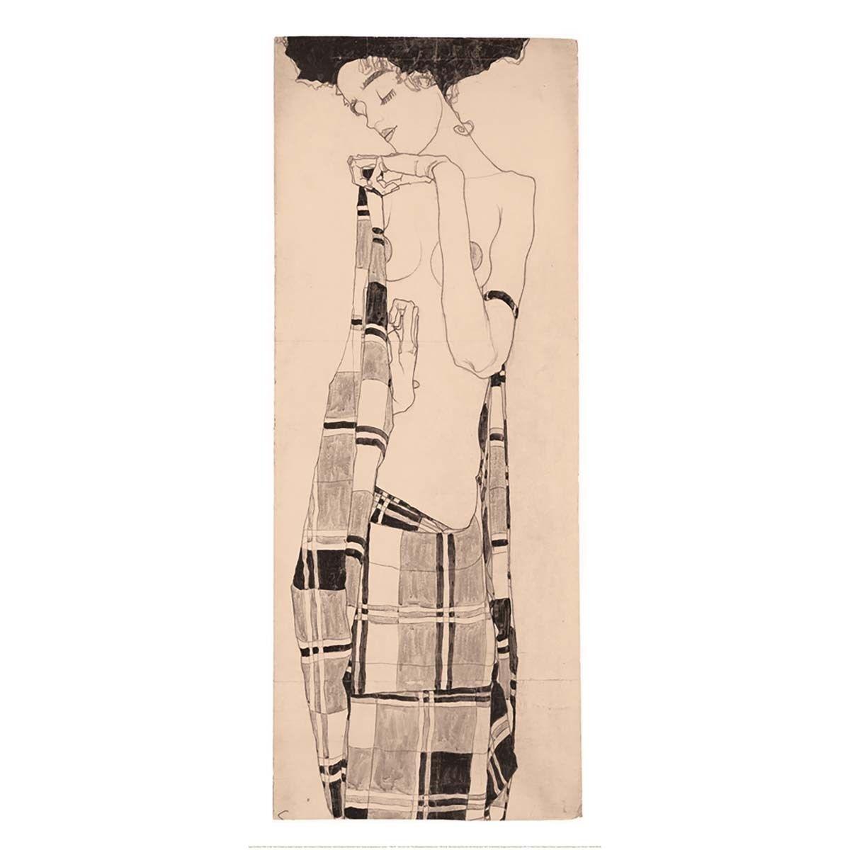 Affiche Gerti Schiele au drape à carreaux