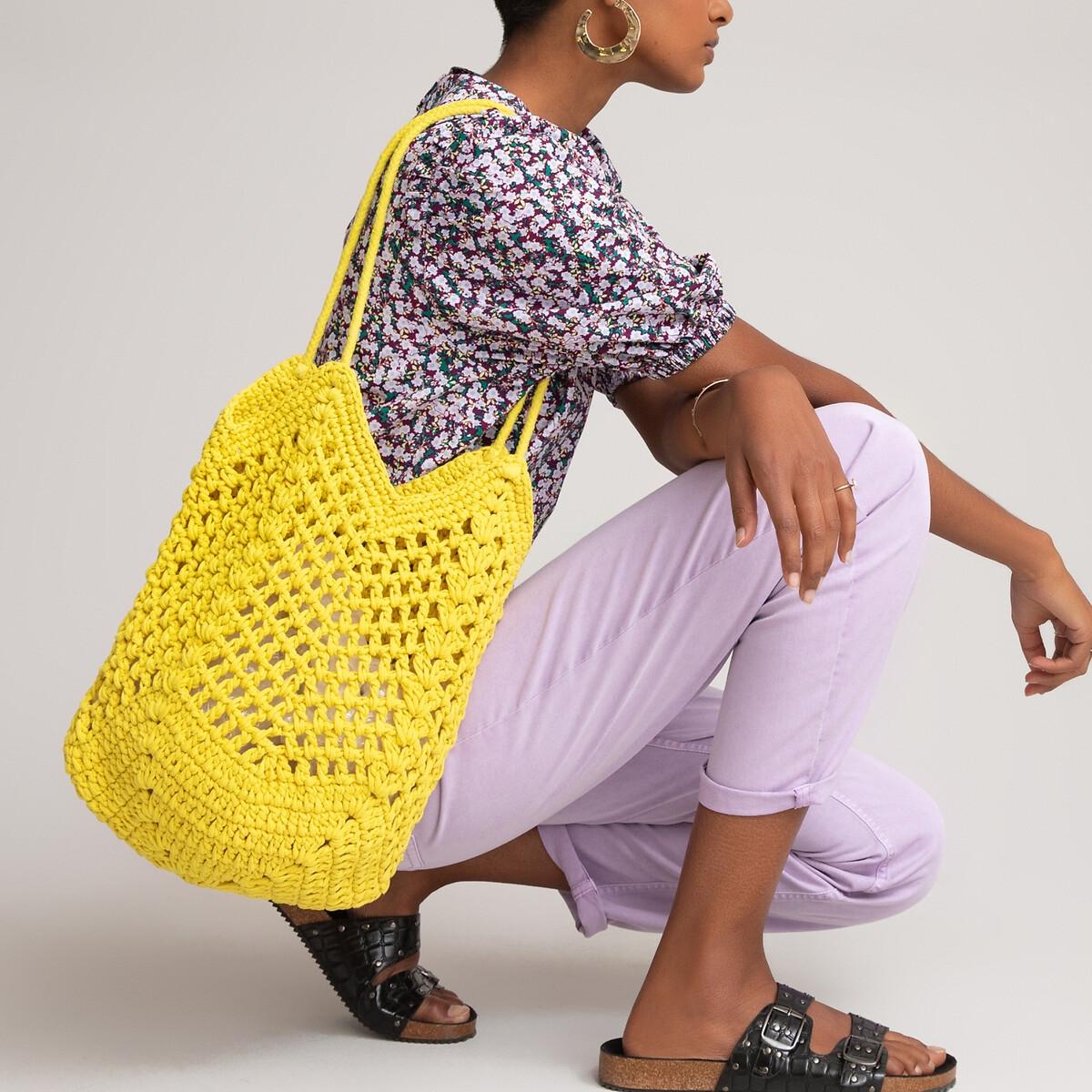 Фото - Сумка-шоппер LaRedoute Из макраме единый размер желтый сумка шоппер laredoute из льна с блесками единый размер синий