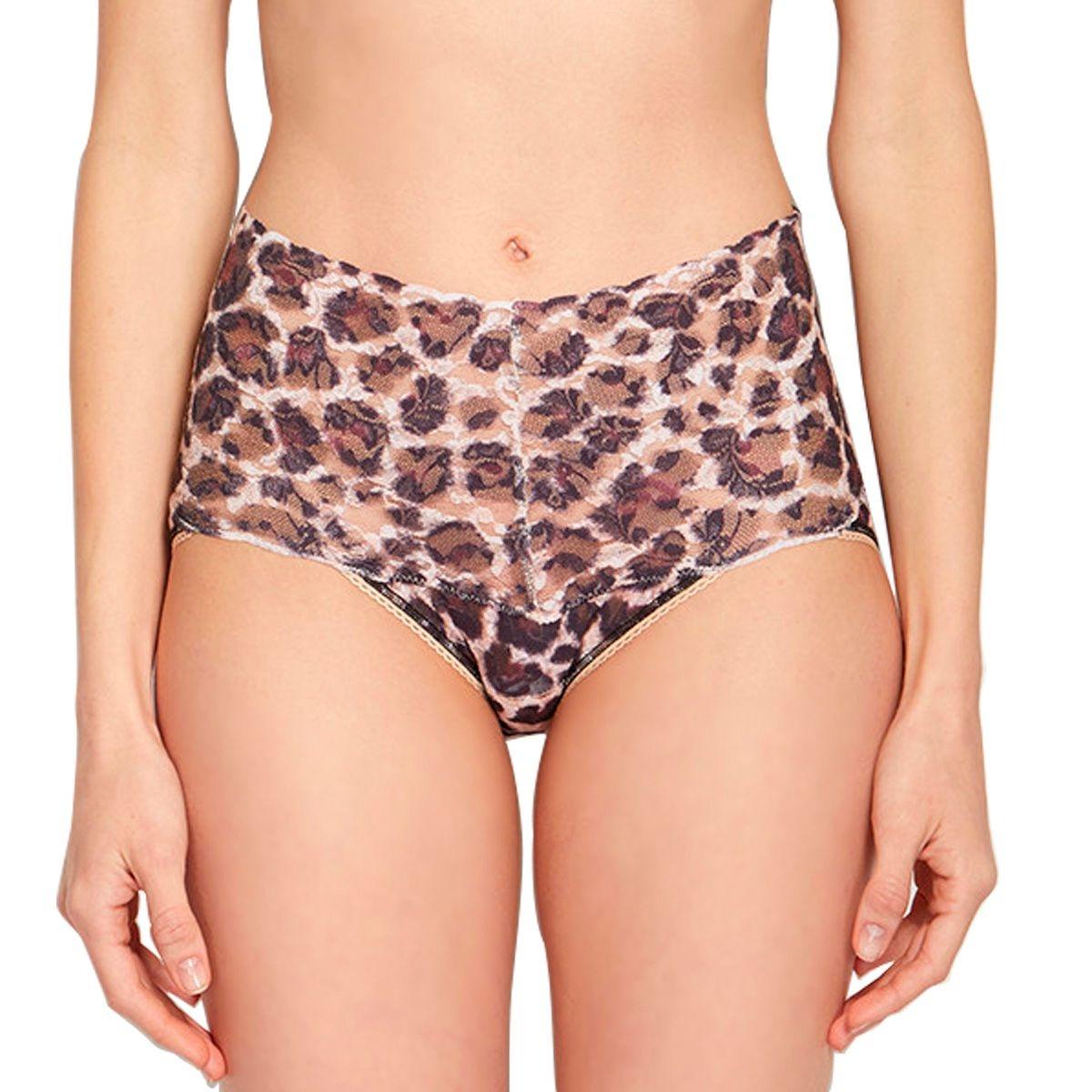 Culotte en dentelle style retro à taille haute imprimé léopard