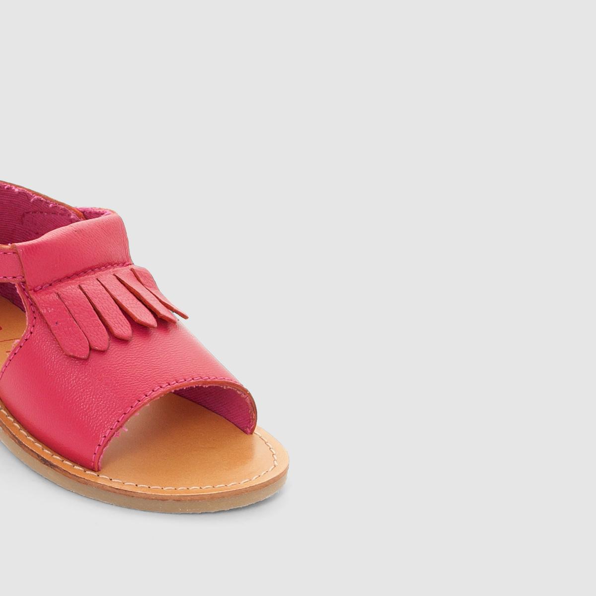 Босоножки кожаныеОписание:Детали  •  Плоский каблук •  Застежка : планка-велкро •  Открытый мысок •  Гладкая отделкаСостав и уход  •  Верх 100% кожа •  Подкладка 100% хлопок<br><br>Цвет: малиновый<br>Размер: 24