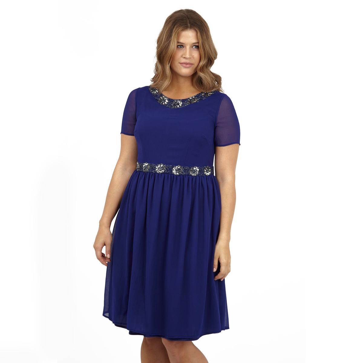 ПлатьеПлатье с короткими рукавами KOKO BY KOKO. 100% полиэстер.<br><br>Цвет: синий<br>Размер: 54/56 (FR) - 60/62 (RUS)