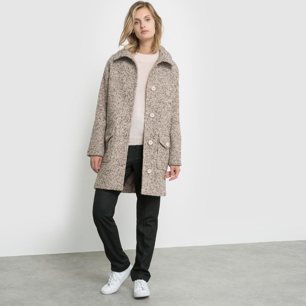 Пальто с твидовым эффектом