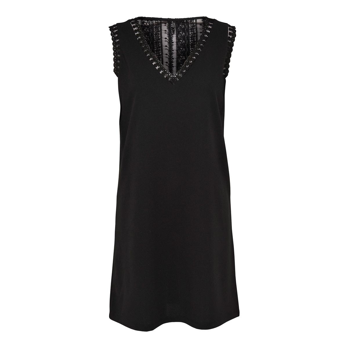 Платье без рукавов с кружевной вставкой на спинке платье без рукавов с кружевной вставкой на спинке