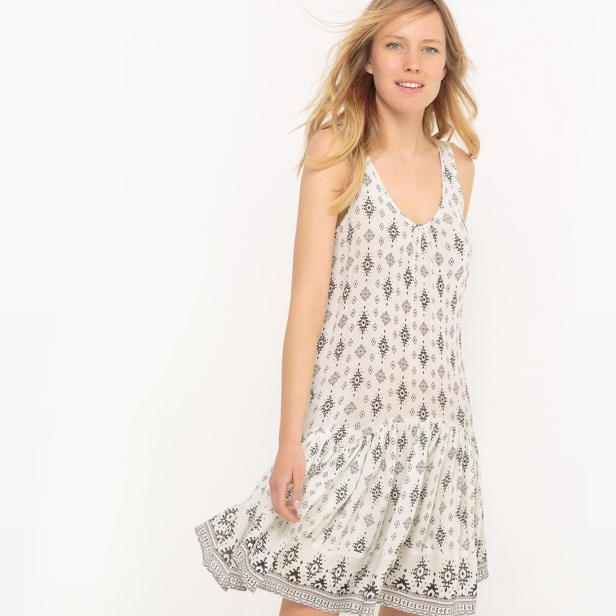 Платье с баской и воланом, этнический принт