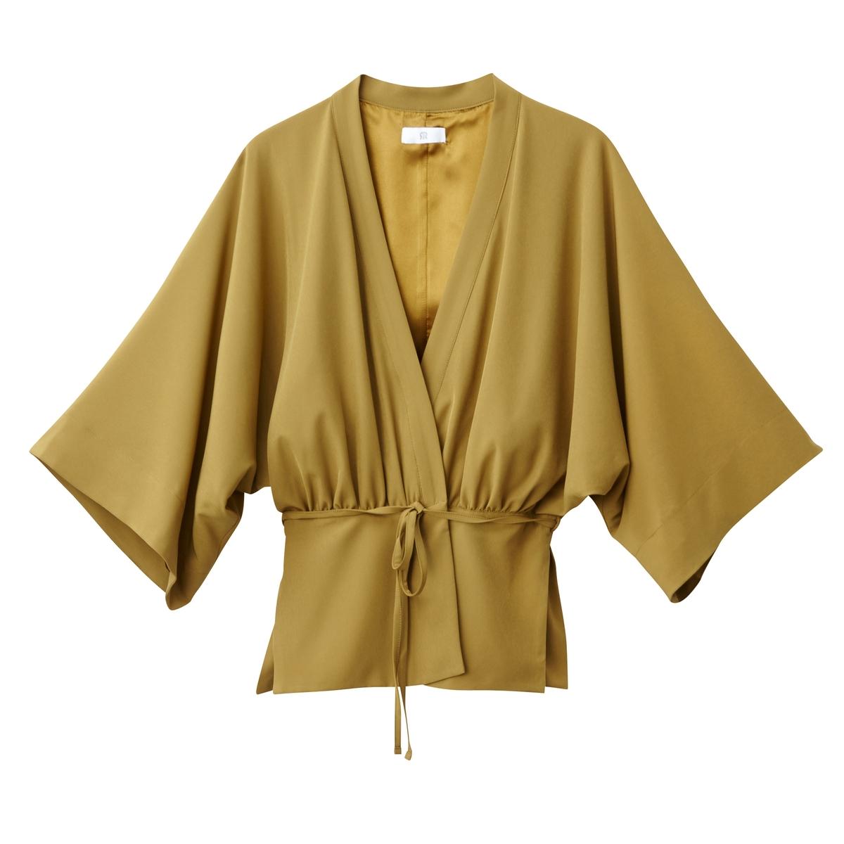 Chaqueta ligera estilo kimono con manga 3/4, anudada en la cintura
