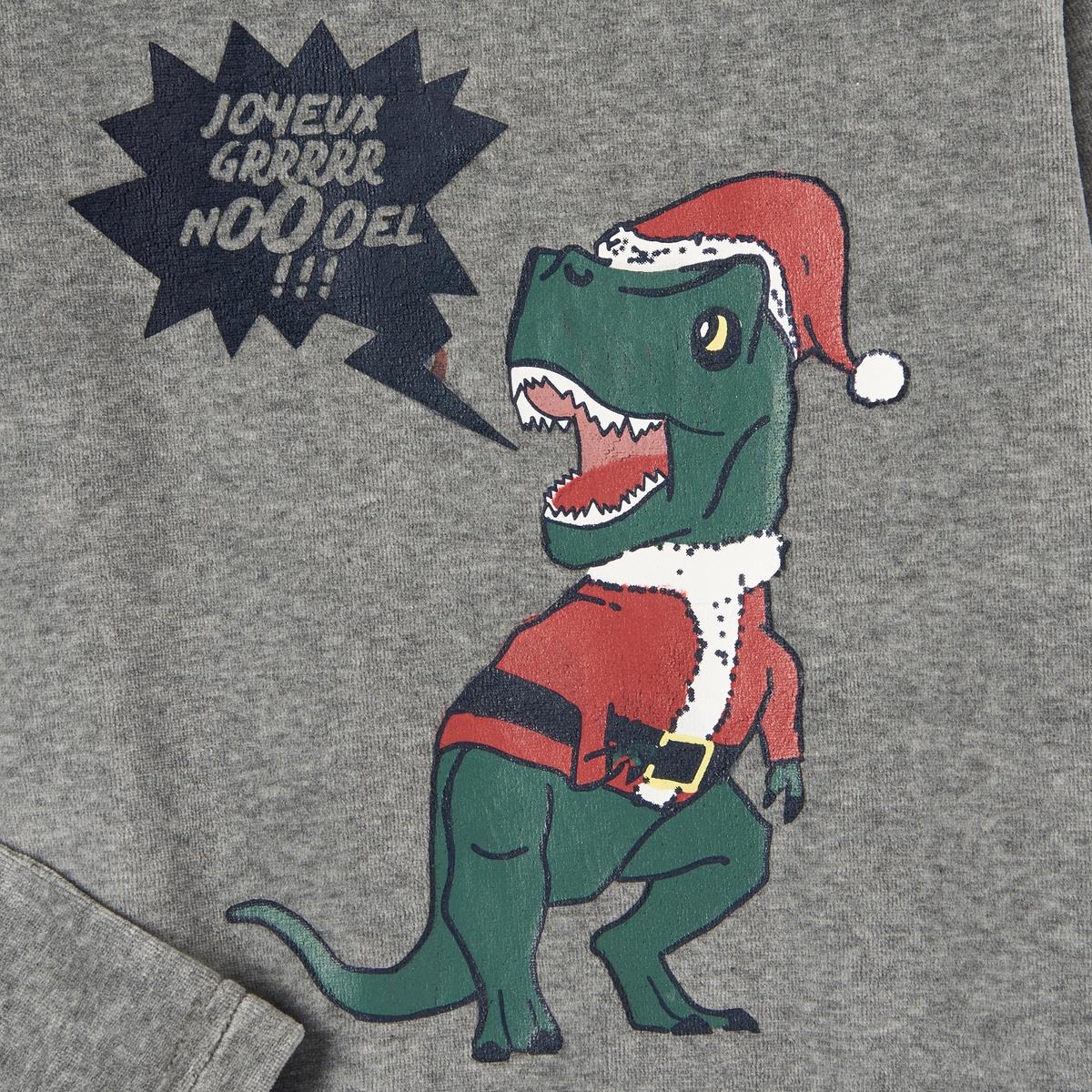 Пижама велюровая с рисунком динозавр  2-12 лет