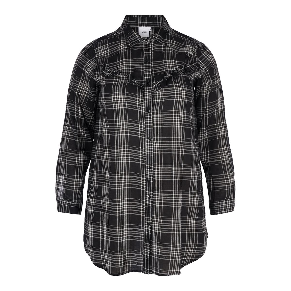 Рубашка с длинными рукавами в клетку рубашка прямая большого размера в клетку