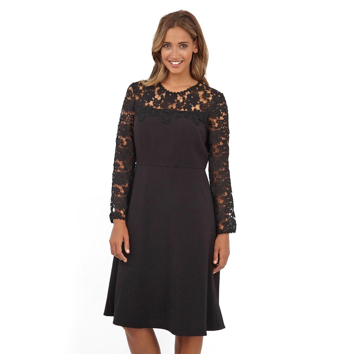 ПлатьеПлатье с длинными рукавами - LOVEDROBE. 100% полиэстер. Симпатичное кружево в верхней части и на рукавах. Длина ок.104 см<br><br>Цвет: черный<br>Размер: 44 (FR) - 50 (RUS).48 (FR) - 54 (RUS).54/56 (FR) - 60/62 (RUS)