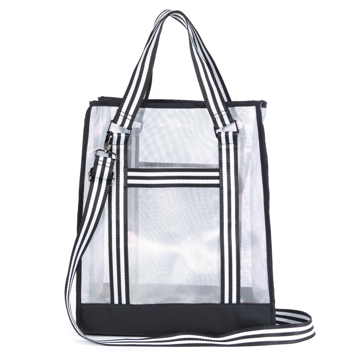 Сумка-шоппер в спортивном стилеОписание:Эта модная прозрачная сумка-шоппер с ремнями удобно располагается на плече или в руке для комфорта во время шоппинга или активных прогулок. Состав и описание :Материал верха :  полиэстерПодкладка : полиэстер Размеры :  Ш31 x В41 x Г11 смЗастежка : молнияВнутренний карман :  1 карман с застежкой на молнию и 2 кармана для мобильного телефонаПлечевой ремень : съемный, нерегулируемый Носить : через плечо или в руках<br><br>Цвет: черный