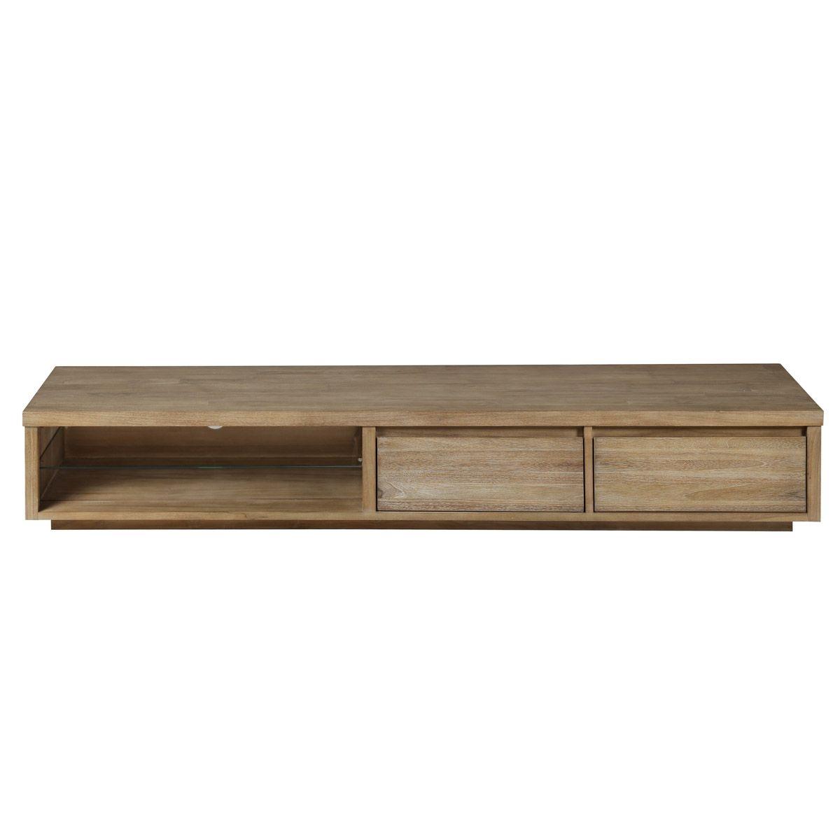 Meuble TV teck lin 180 cm 2 niches 2 tiroirs Cosmopolitan