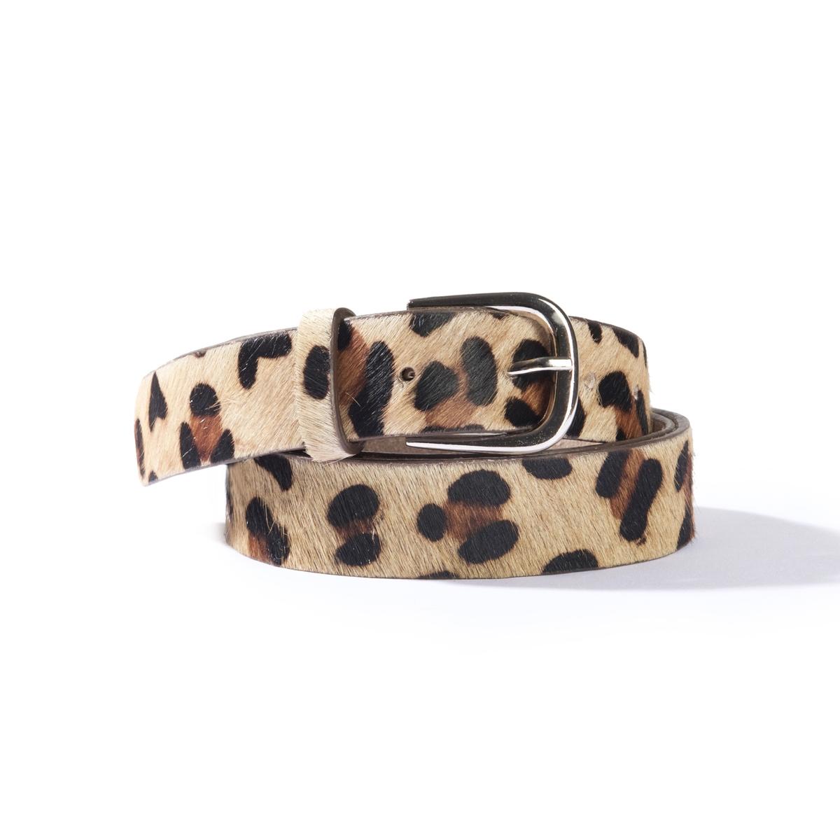 Ремень кожаный с леопардовым рисунком