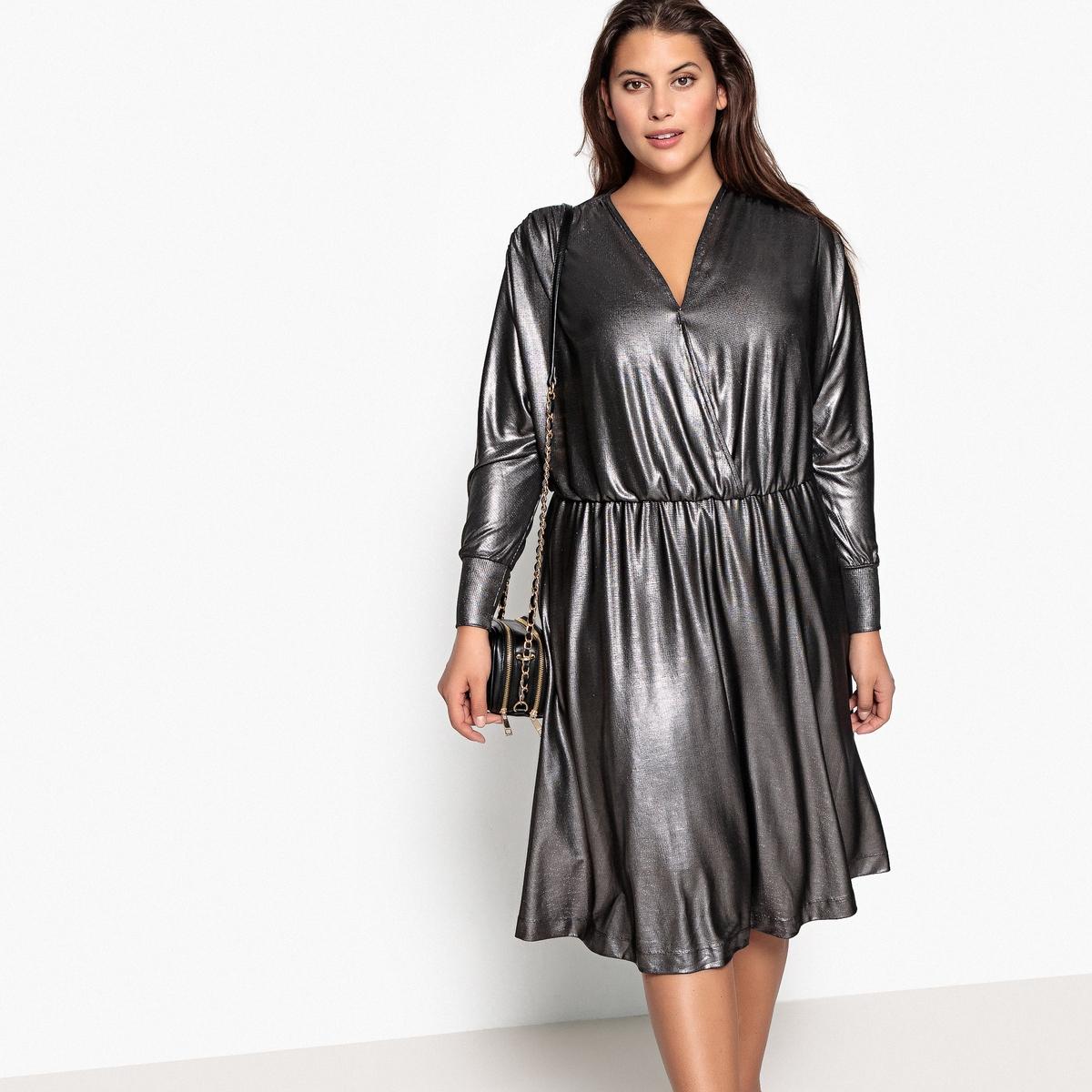 Платье-миди La Redoute Вечернее с длинными рукавами 48 (FR) - 54 (RUS) серебристый