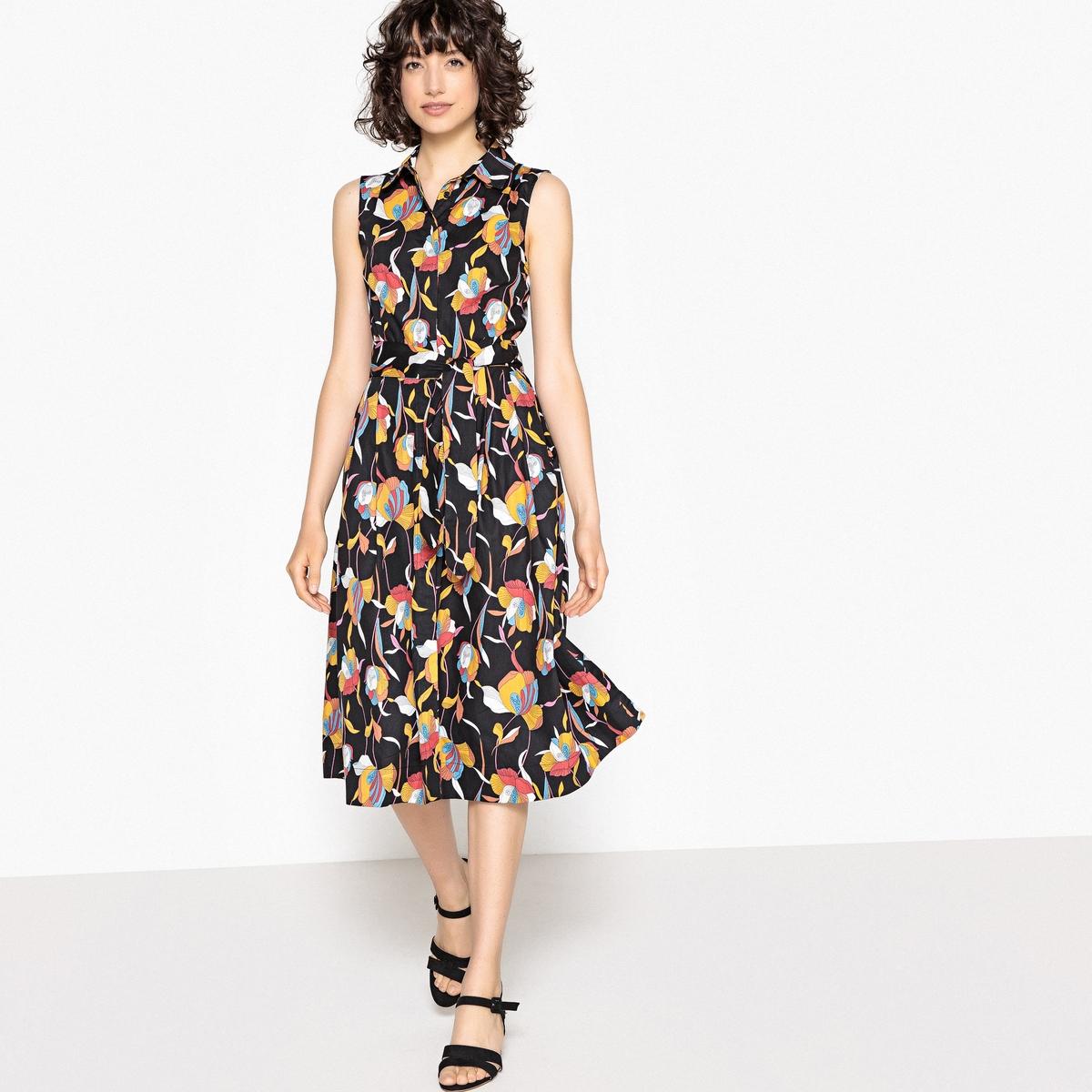 Платье-рубашка с рисунком, 100% хлопок
