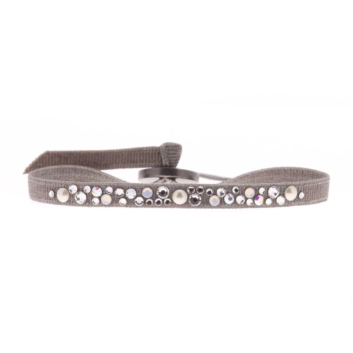 Bracelet en Tissu Argenté et Cristal