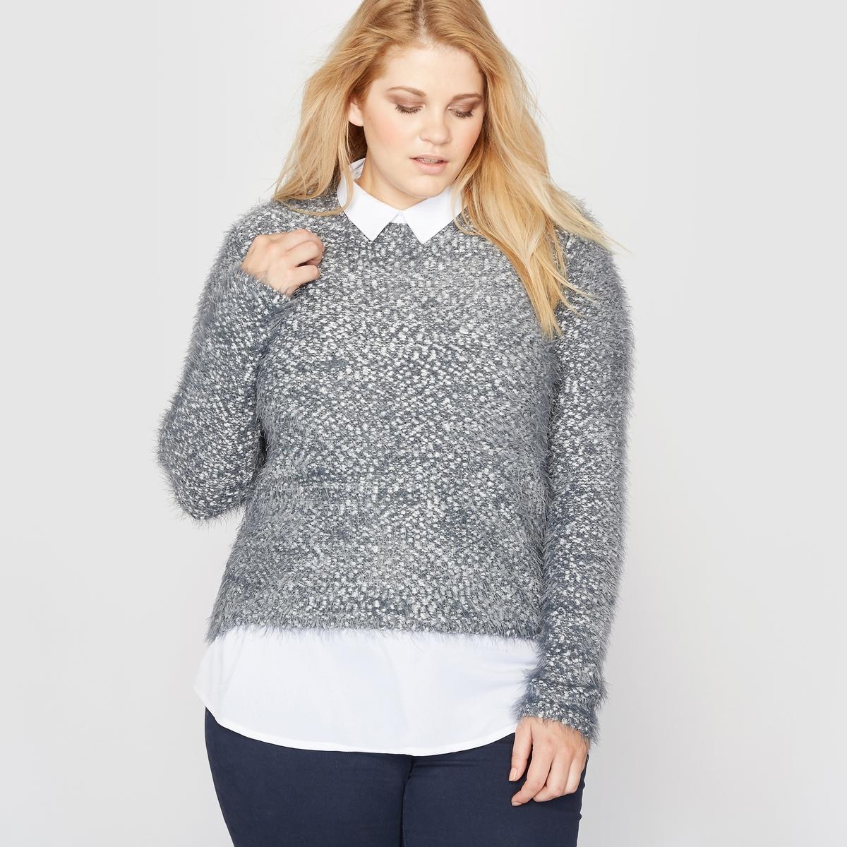 Пуловер-рубашка с эффектом 2 в 1Пуловер-рубашка с эффектом 2 в 1. Современная и очень модная форма.Пуловер с длинными рукавами из трикотажа мулине с волокнами с металлическим блеском, цвет серый меланж, очень мягкийРубашка белого цвета с воротником со свободными уголками. Состав и описание :Материал : трикотаж мулине 60 % полиамида, 15 % акрила, 15 % полиэстера, 10 % металлизированных волокон (пуловер) и 100 % полиэстер (рубашка).Длина : 69 см для размера 42/44.Марка : CASTALUNA..Description du drap-housse AzelaУход :Деликатная машинная стирка при 30 ° .<br><br>Цвет: темно-серый меланж<br>Размер: 42/44 (FR) - 48/50 (RUS).46/48 (FR) - 52/54 (RUS)