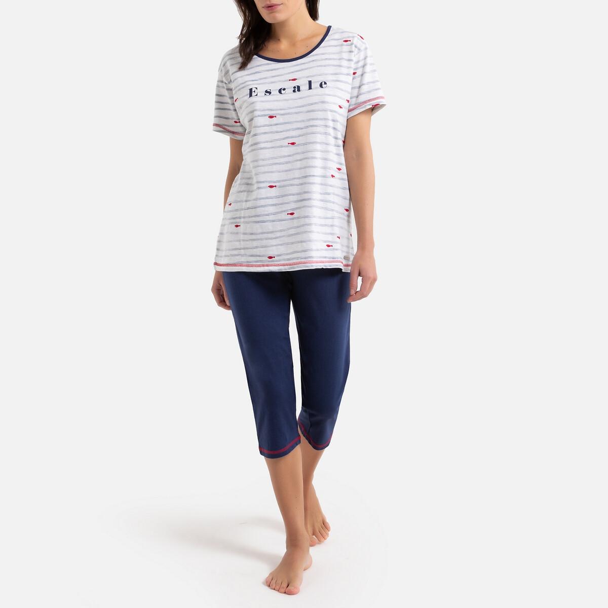 Пижама La Redoute С короткими штанишками хлопковая Вода M бежевый свитшот la redoute с логотипом в винтажном стиле la redoute m белый