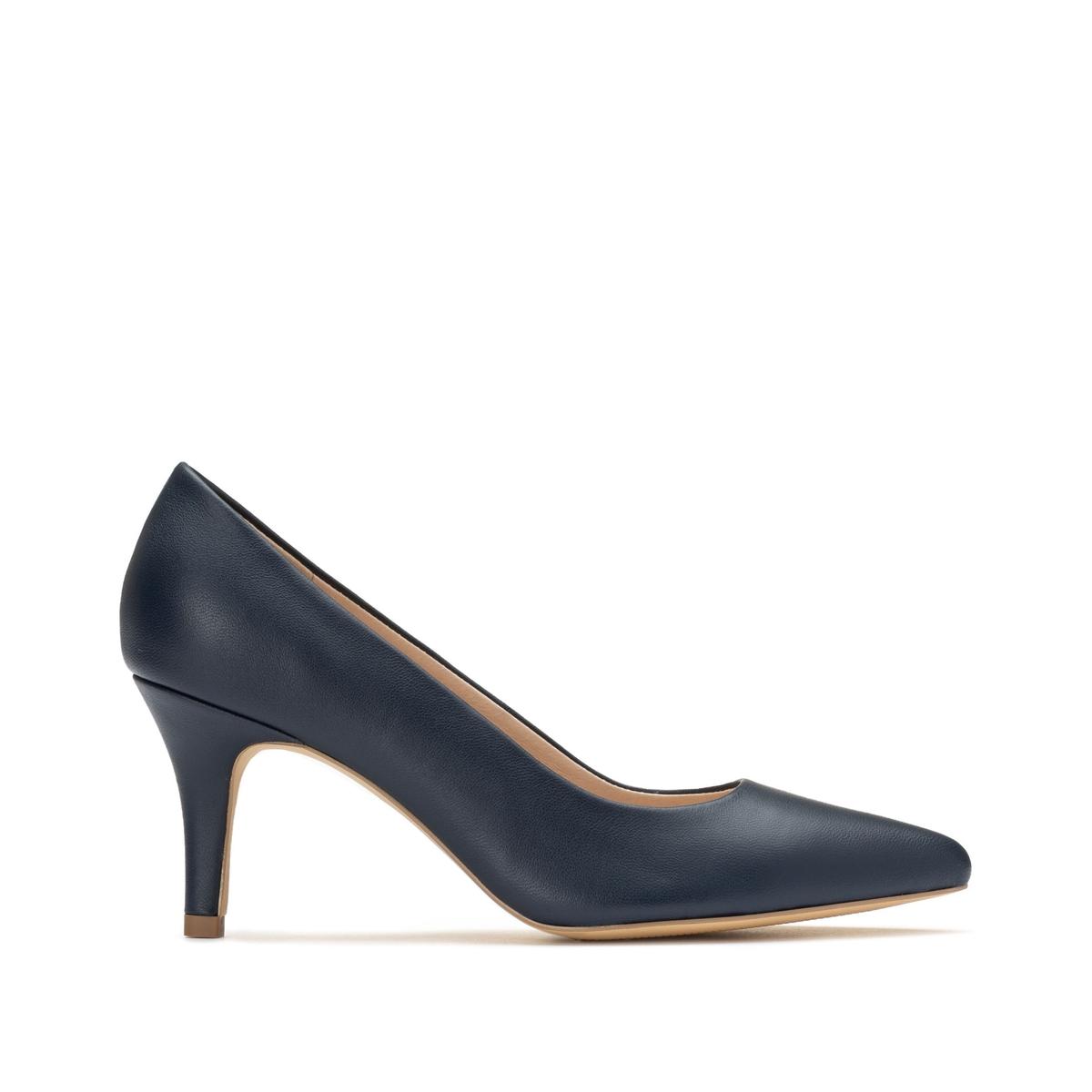 Фото - Туфли LaRedoute Кожаные на высоком каблуке 36 синий балетки la redoute кожаные на каблуке 36 розовый