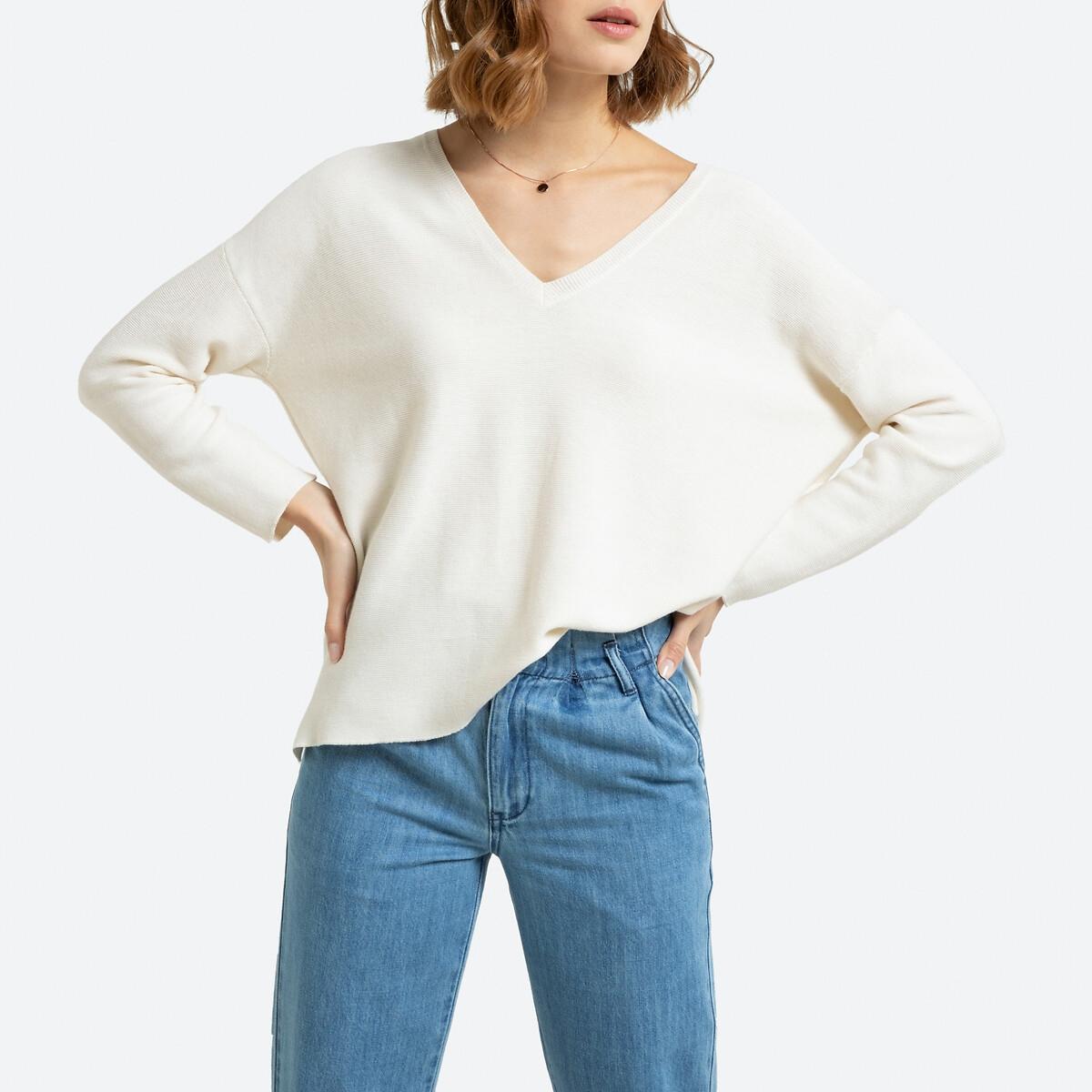 Фото - Пуловер La Redoute С V-образным вырезом из тонкого трикотажа XL белый пуловер la redoute с v образным вырезом из тонкого трикотажа florestine 2 m серый
