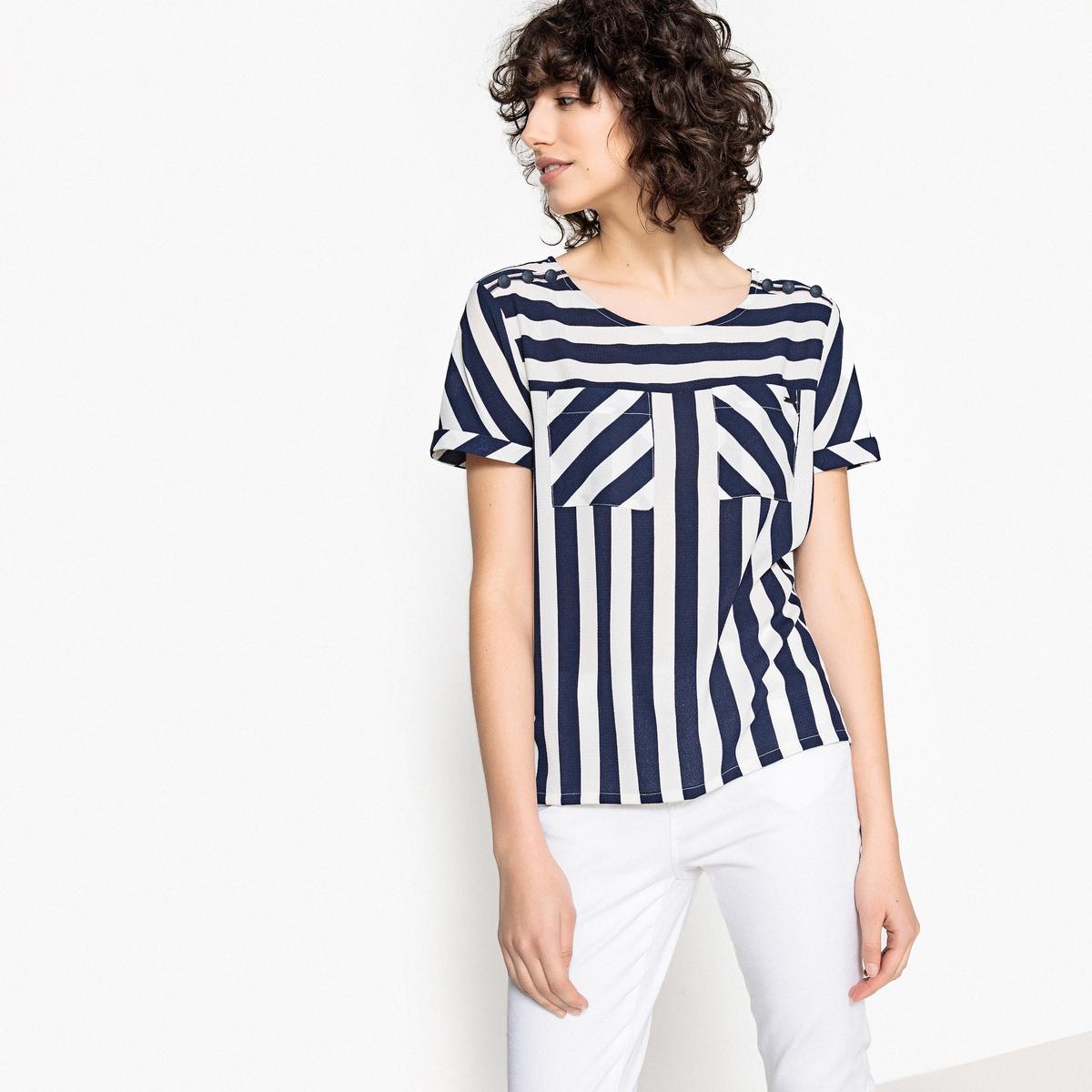 Блузка La Redoute С V-образным вырезом рисунком и короткими рукавами M белый футболка la redoute с v образным вырезом короткими рукавами и принтом спереди l белый