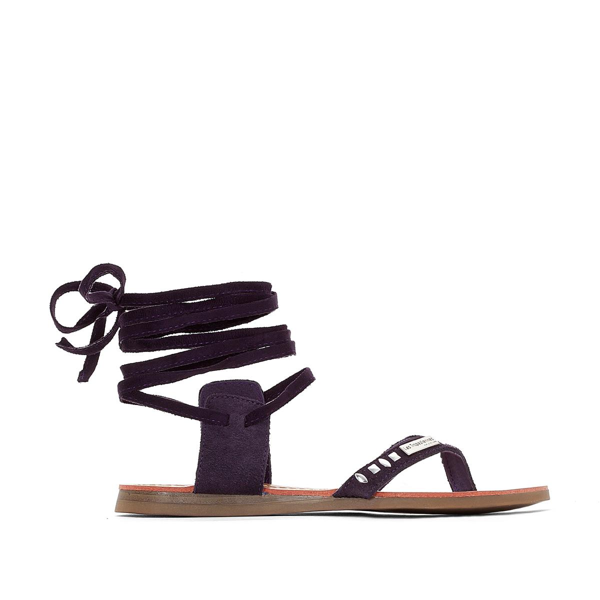 Сандалии плоские из кожи Galtano, с перемычкой между пальцамиОчаровательные и ультра женственные сандалии с кожаной шнуровкой, обрамляющей лодыжку ... !<br><br>Цвет: фиолетовый