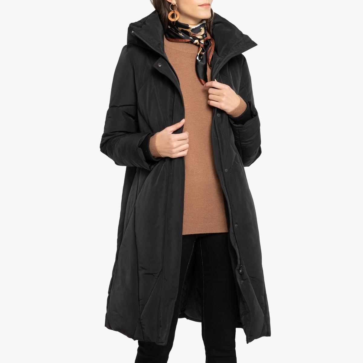 Куртка La Redoute Стеганая длинная с капюшоном 42 (FR) - 48 (RUS) черный
