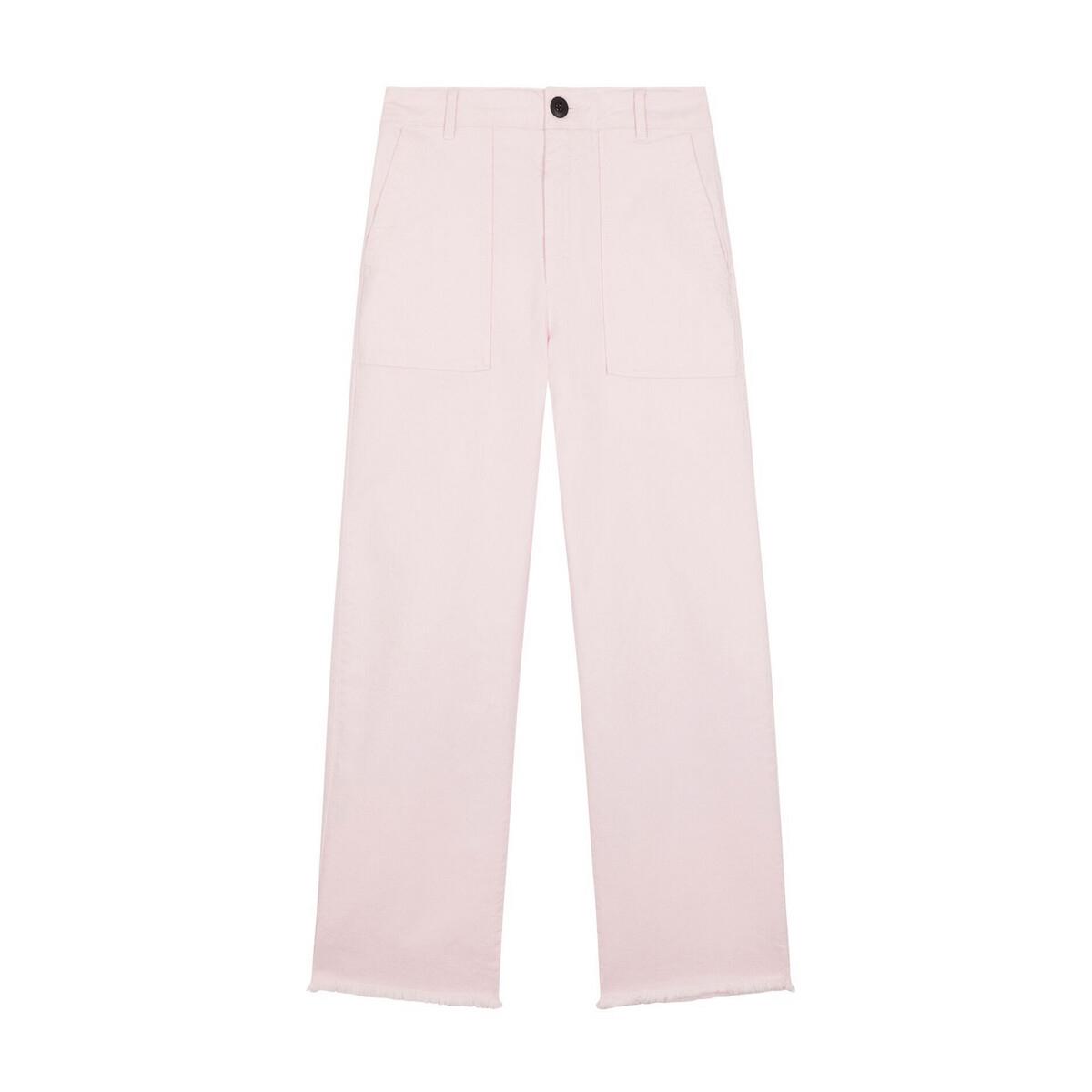 цена Брюки La Redoute Широкие с высоким поясом PRALIN 40 (FR) - 46 (RUS) розовый онлайн в 2017 году