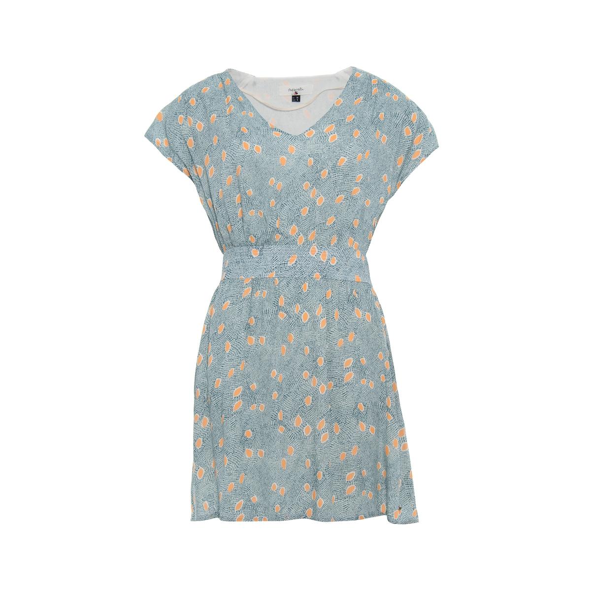 Платье с короткими рукавами, с рисункомПлатье с короткими рукавами PARAMITA. Прямой покрой, эластичный присборенный пояс. Сплошной рисунок контрастного цвета.Состав и описание :Материал : 100% вискозы.Марка : PARAMITA<br><br>Цвет: зеленый/рисунок<br>Размер: M