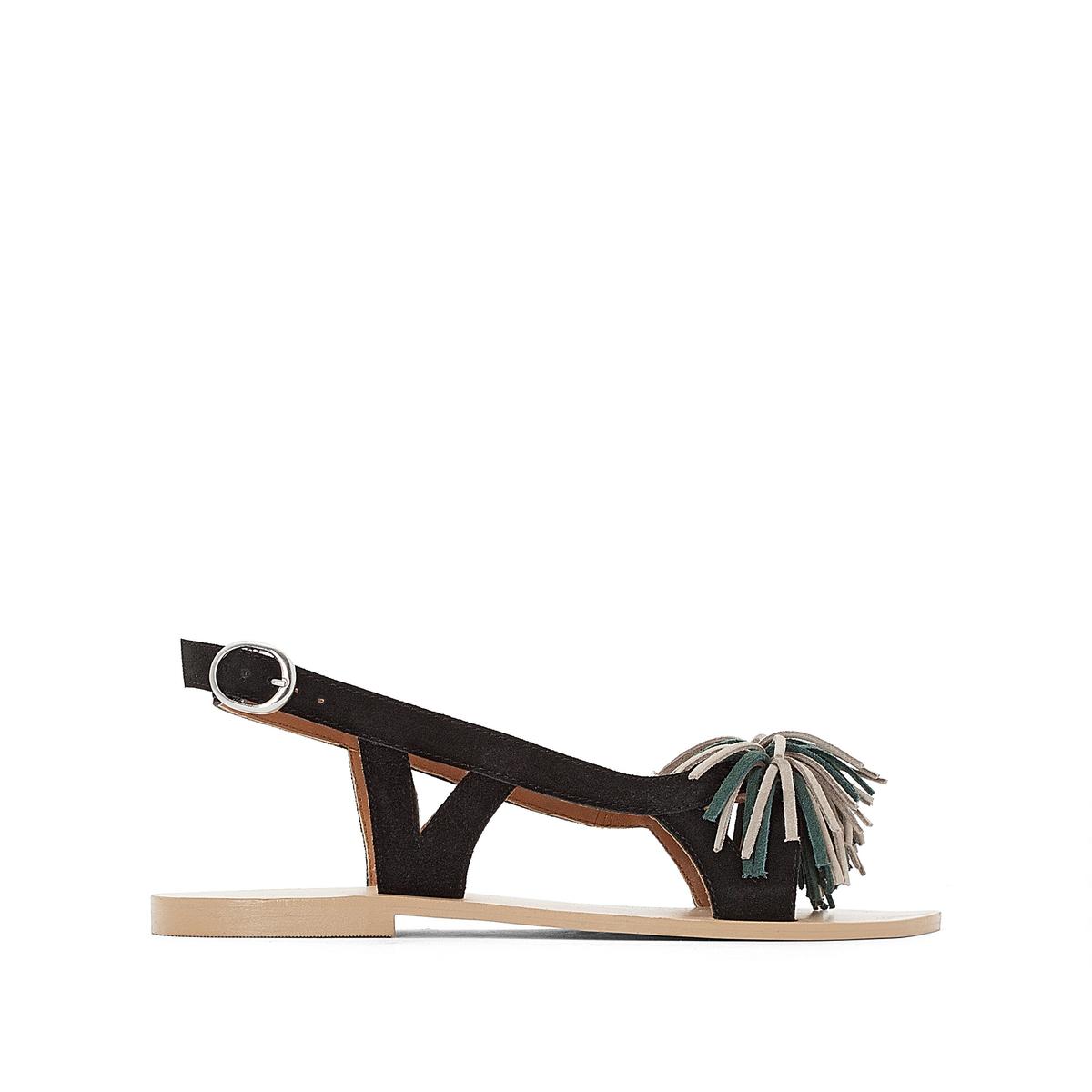 Сандалии кожаные с отделкой бахромой, для широкой стопы 38-45