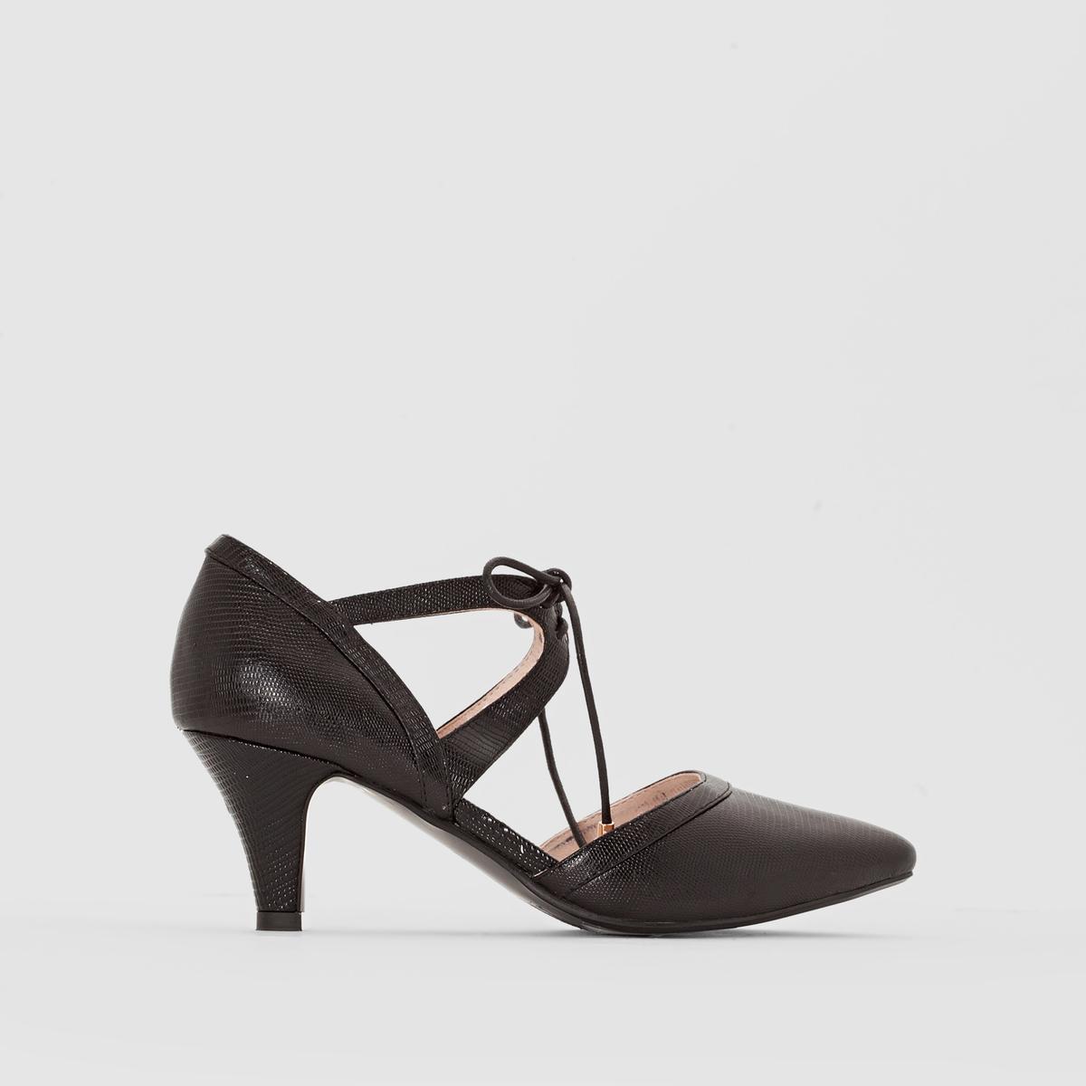 Туфли с металлическим отливом из кожиТуфли Anne Weyburn, на шнуровке.Верх : лакированная кожаПодкладка : кожа  Стелька : кожа на пористой основеПодошва : из эластомераВысота каблука : 8 см<br><br>Цвет: черный<br>Размер: 40