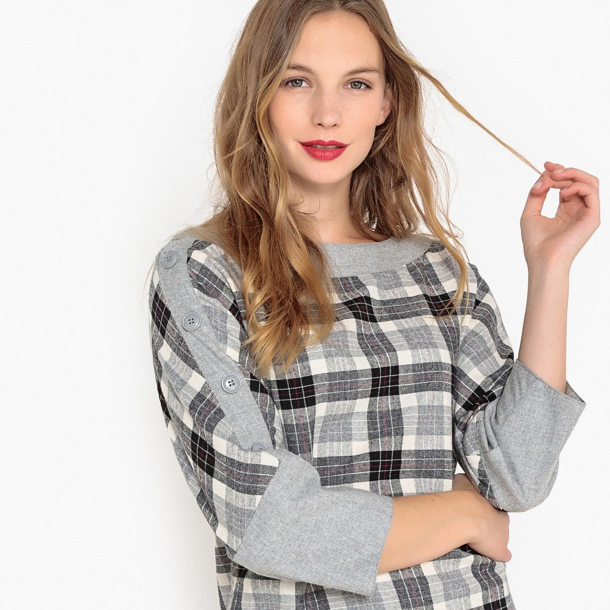Платье La Redoute В клетку с пуговицами на плечах 36 (FR) - 42 (RUS) серый джинсы la redoute узкие для периода беременности 36 fr 42 rus серый