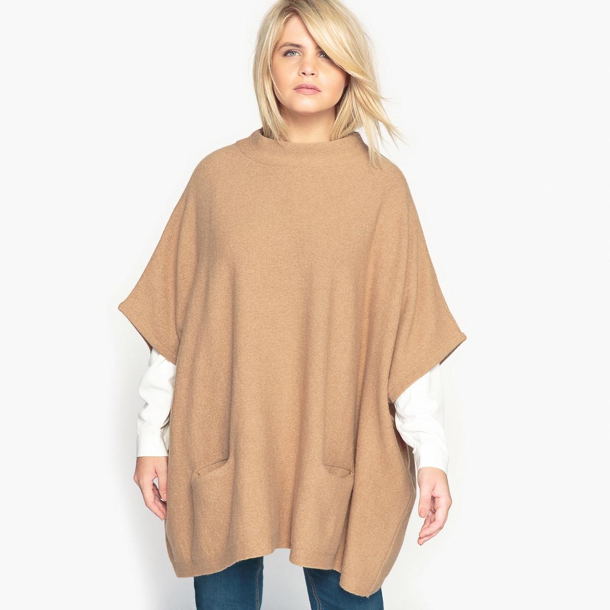 Пуловер-пончо из плотного трикотажа с воротником-стойкойОписание:Теплый пуловер-пончо преимущественно из шерсти. Вам придется по душе красивый покрой и очень теплый трикотаж этого пуловера-пончо.Детали •  Короткие рукава •  Воротник-стойка •  Плотный трикотаж Состав и уход •  70% шерсти, 2% эластана, 28% полиамида •  Ручная стирка •  Сухая чистка и отбеливание запрещены •  Сушить на горизонтальной поверхности •  Низкая температура глажкиТовар из коллекции больших размеров<br><br>Цвет: темно-бежевый<br>Размер: 50/52 (FR) - 56/58 (RUS)