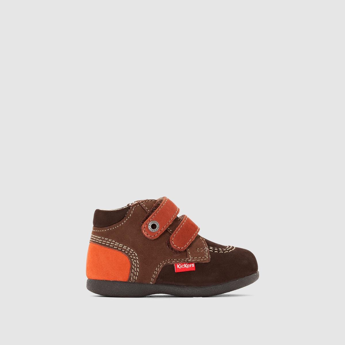 Ботинки из нубука BabyscratchПодкладка : кожа                 Стелька : кожа                 Подошва : Каучук.             Форма каблука : Плоская             Мысок : закругленный                    Застежка : На планку-велкро<br><br>Цвет: каштановый / оранжевый
