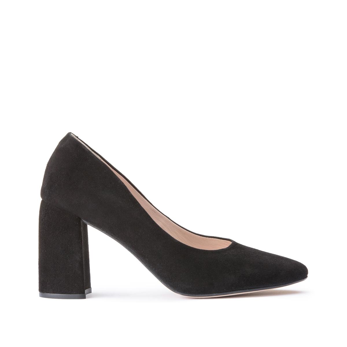 Туфли LaRedoute Кожаные на широком каблуке 35 черный