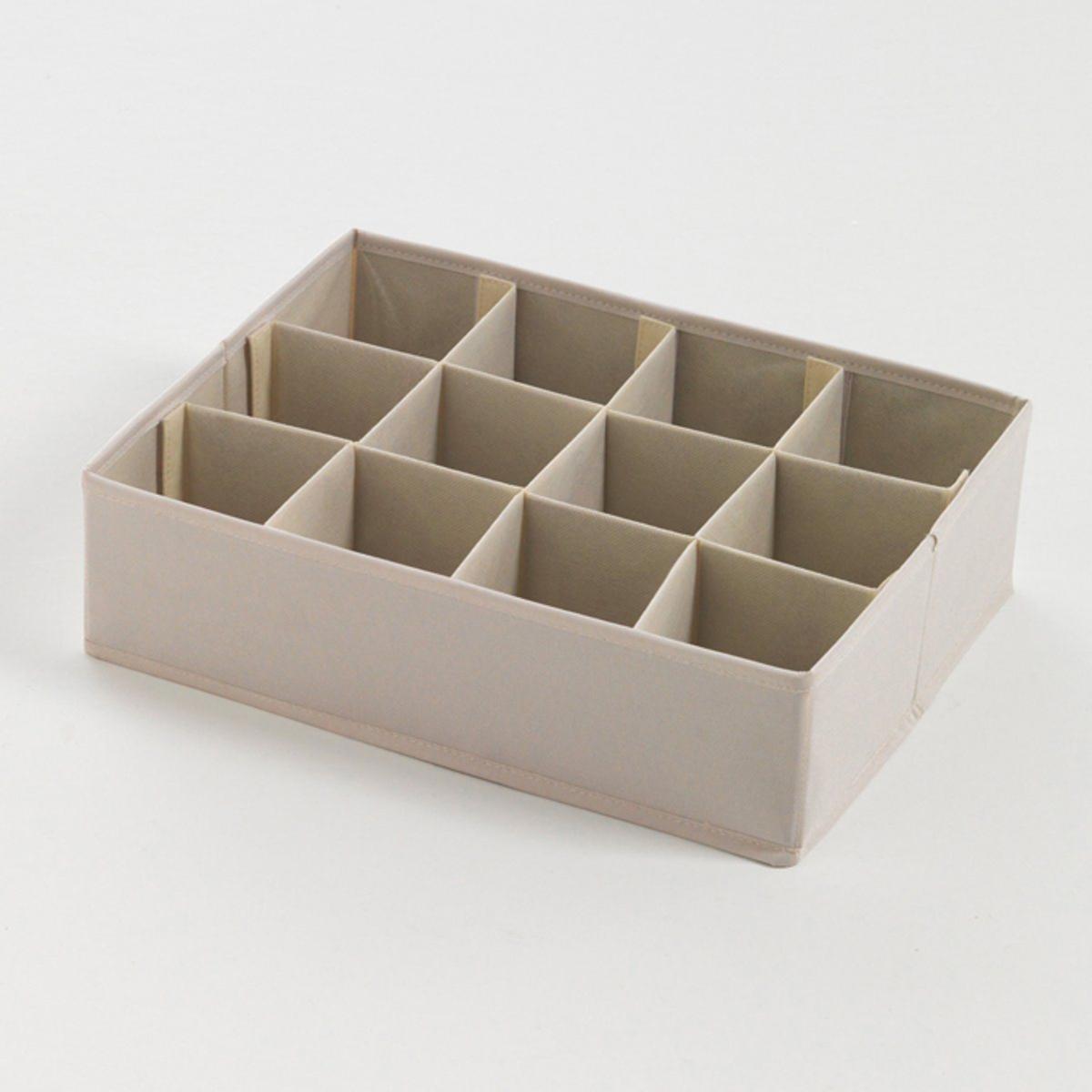 Коробка складная для  хранения вещей, 12 отделенийХарактеристики коробки для хранения вещей :- Из твердого картона, покрытого полиэстером, цвет экрю.Описание коробки для хранения вещей :- 12 отделений для хранения нижнего белья, носков, ремней, украшений... Коробка поставляется готовой к сборке, инструкция прилагается.Размеры :- Общие : Ш.,5 x В.8 x Г.8,5 см- Внутренние размеры: Ш.8,5 x В.8 x Г.8,5 см.<br><br>Цвет: серо-коричневый каштан