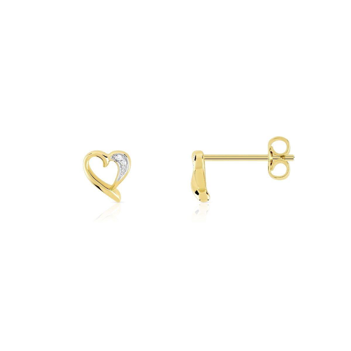 Boucles d'oreilles or 375 2 tons diamant