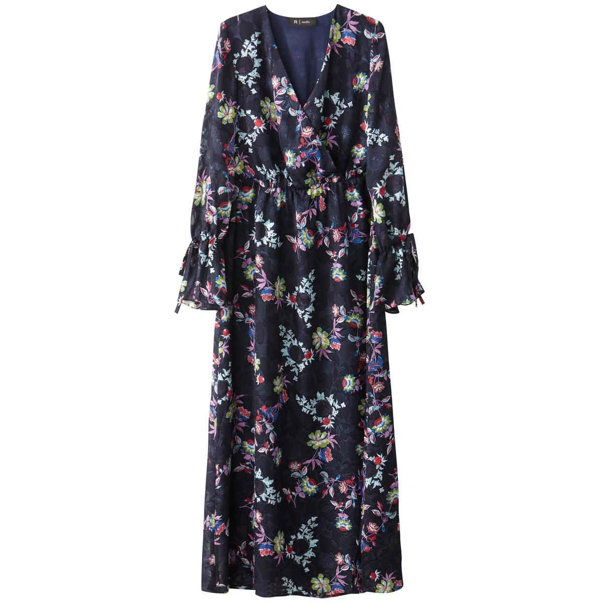 Платье длинное с цветочным принтом, c длинными рукавами