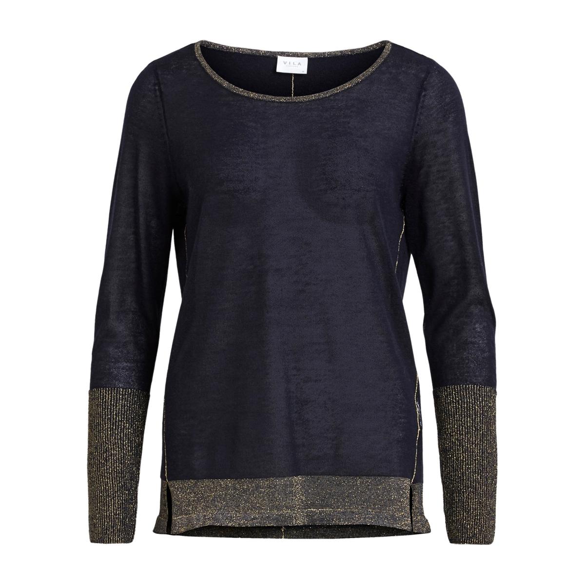 Пуловер с круглым вырезом из тонкого трикотажа  пуловер с круглым вырезом из хлопка и льна