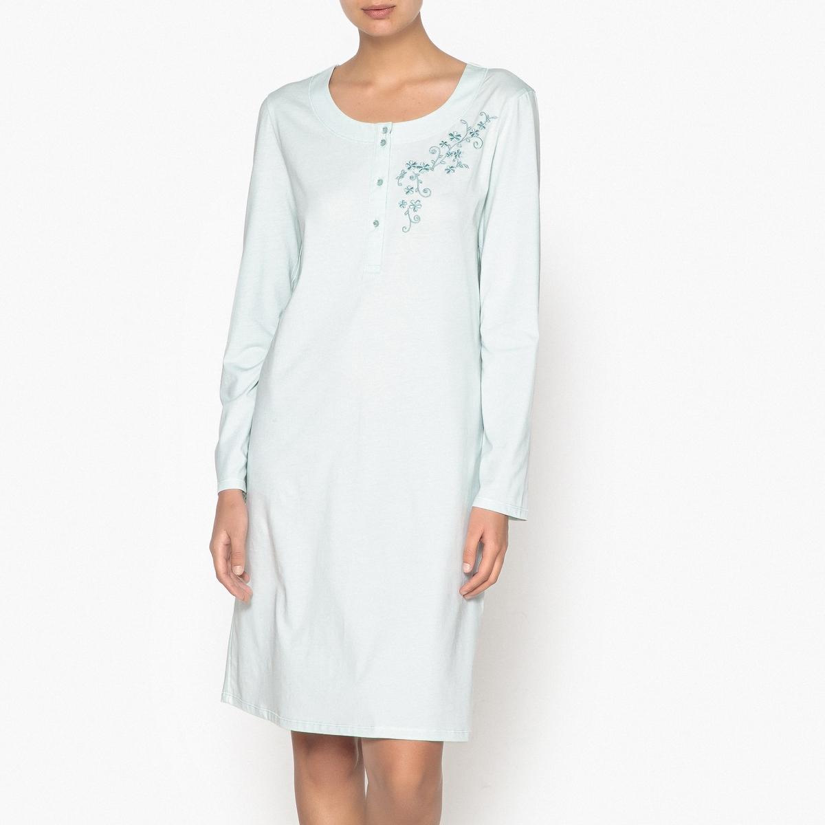 Camisa de dormir em algodão, detalhe bordado