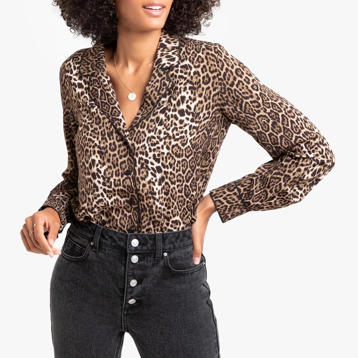 Рубашка La Redoute С леопардовым принтом и длинными рукавами 34 (FR) - 40 (RUS) другие куртка la redoute легкая укороченная с леопардовым принтом 34 fr 40 rus другие