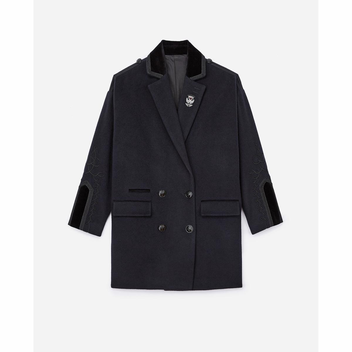 Пальто из шерсти и велюра драповое длинное пальто из шерсти claudius