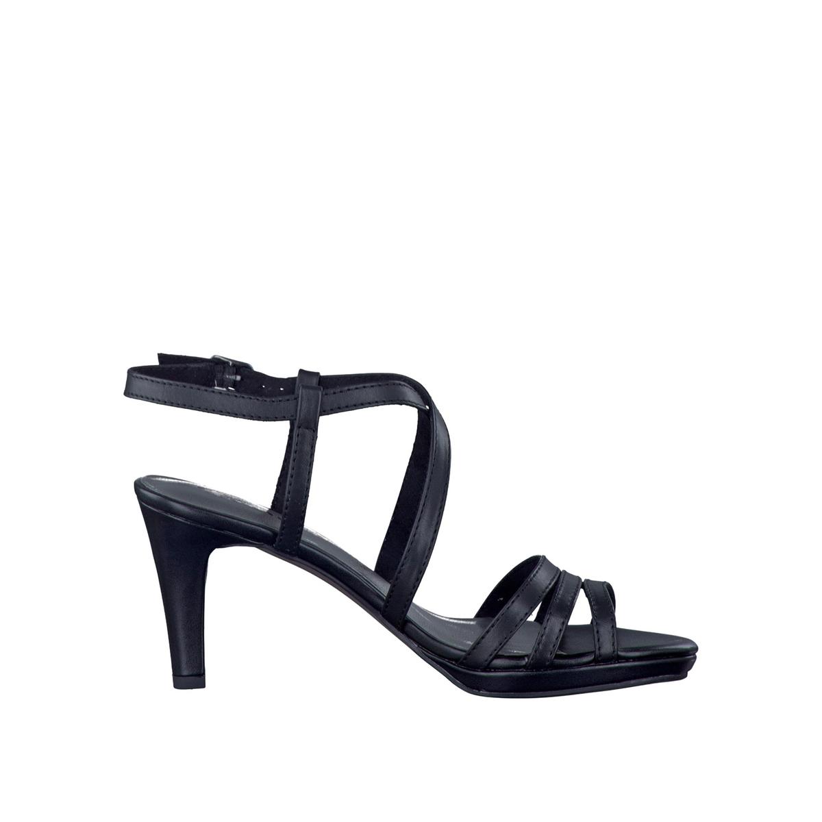 Сандалии кожаные 28399-38Верх : кожа Подкладка : текстиль Стелька : синтетика Подошва : синтетика Высота каблука : 7,5 см   Форма каблука : тонкий каблук Мысок : закругленный мысокЗастежка : пряжка<br><br>Цвет: черный<br>Размер: 41.39.37