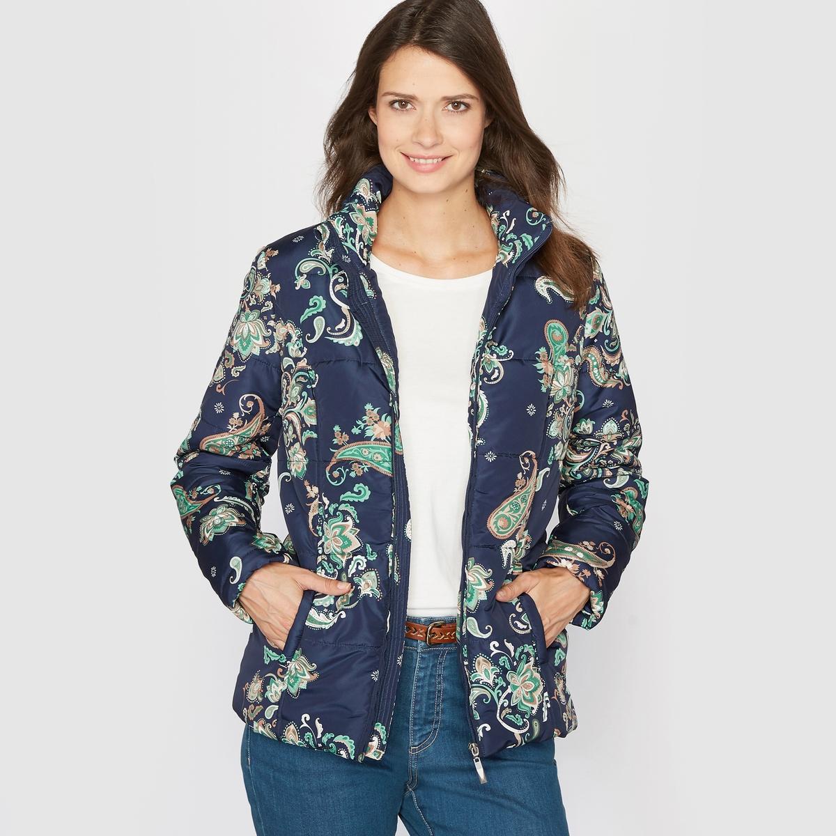 Куртка стеганая с принтом и обработкой TEFLON