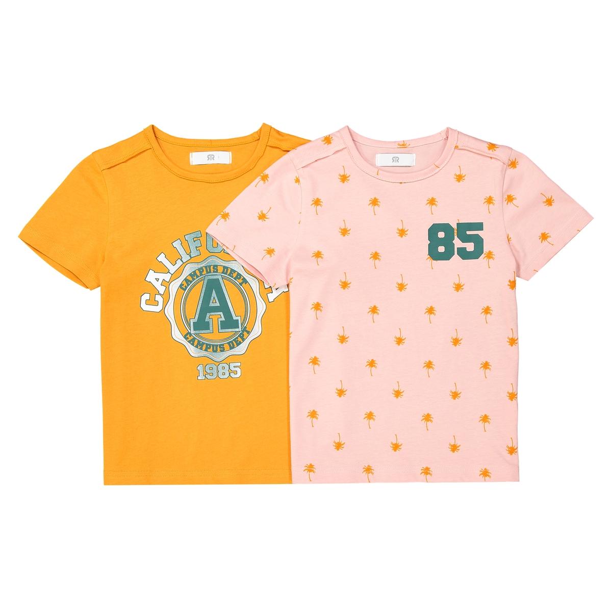2 футболки с принтом 3-12 лет